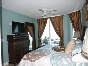 "Master Bedroom with access to the Balcony, King Bed, 37"" LCD TV"