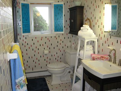 Hampton Bays apartment rental - Floor to Ceiling Tile Bath with Stand-up Shower