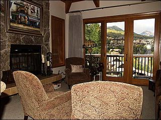 Snowmass Village condo photo - Living Room with Wood Burning Fireplace