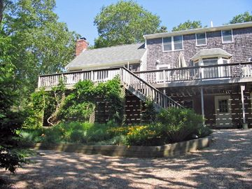 Eastham house rental - The 60 foot long very private deck with southern exposure