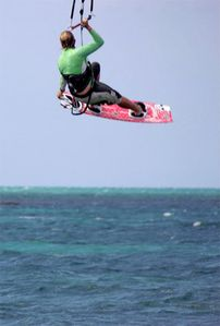 kitesurfing from the island