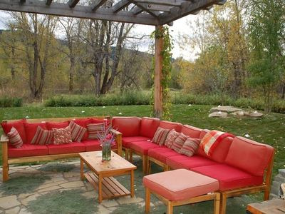 Outdoor seating in fall