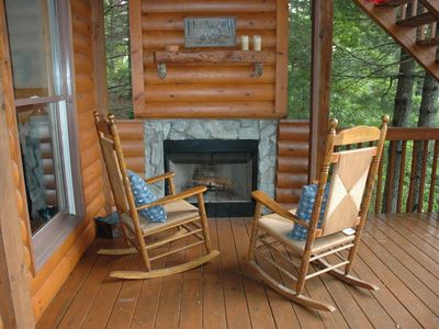 woodburning fireplace on deck, mountain views. Perfect cabin for romance