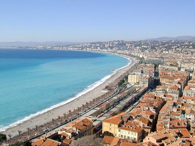 Old town of Nice, with its red tiled rooves, is along seafront