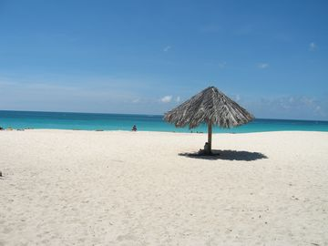 Beautiful white sand beach in front of the resort