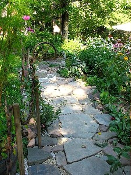 stone walkway beside cabin. Features climbing rose.
