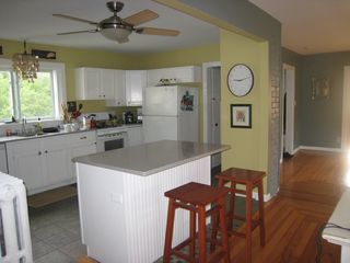 Three Oaks house photo - Spacious, open kitchen. Heated slate floors!