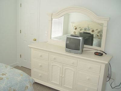 Nice extra large dresser in 2nd bedroom with queen and single beds