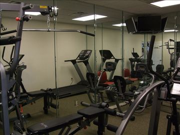 Exercise room at the community clubhouse is free of charge