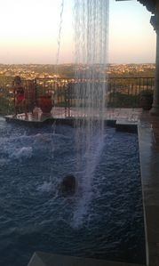 Austin house rental - Waterfall over pool with fantastic views!