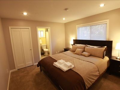 Cal King bed, walk in closet and private bathroom in the master