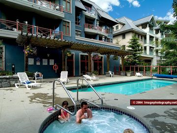 Alpenglow pool area - The Alpenglow has a shared pool and hot tub