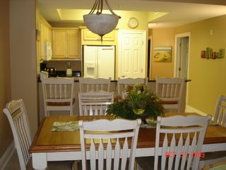 Fort Walton Beach condo photo - Dining Area Table with 6 chairs & 4 Barstools for additional seating
