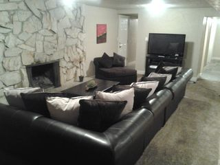 Salt Lake City house photo - BASEMENT FAM RM (FIREPLACE, LG SECTIONAL COUCH, HD TV, XBOX VIDEO GAME, KITCHEN)