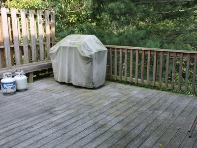 Large deck with BBQ grill.
