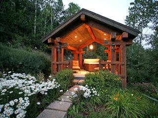 Sundance cabin photo - Gazebo with lounge chairs and hot tub looking out to Timp