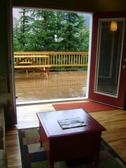 Girdwood lodge photo - Double doors lead to Extra-large 774 square-foot deck