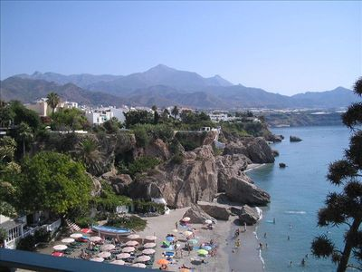 Village of Nerja seen from Balcon de Europa,five minutes from apartment.