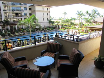 Ko Olina condo rental - Beautiful views of pool, garden and partial ocean from the lanais