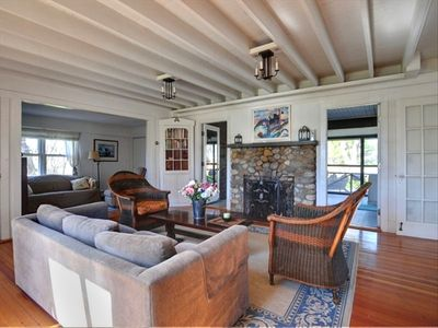 Branford cottage rental - living room with wood burning fireplace