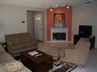 Palm Desert house photo - Living Room with gas fireplace and new LCD TV