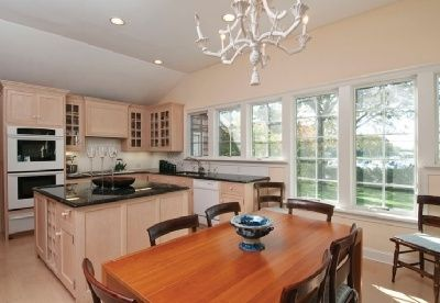 Southampton house rental - Kitchen/informal dining room/den with views of Peconic Marina