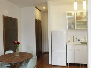 Queens studio photo - Dining Area. Modern Kitchen. Hallway Leading to Large Closet and Bathroom.