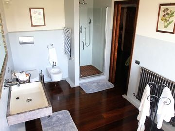 #2 with shower, antique sink, bidet & toilet