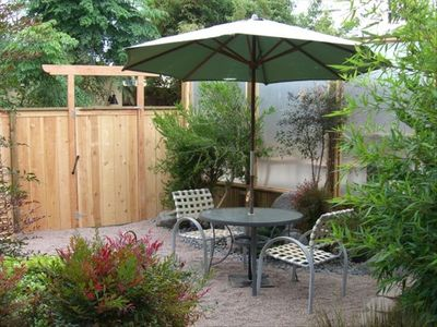 Your private Zen Garden Patio Area with Dining, BBQ