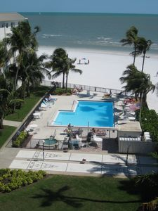 White sand beach, condo pool, hot tub, shuffleboard, grill -just steps away
