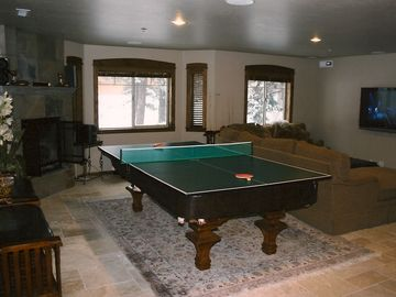 Downstairs Living Room-ping pong table & TV