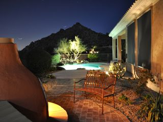 Scottsdale Troon house photo - View from the Kiva Fireplace looking west at the pool and silhouetted mountain!