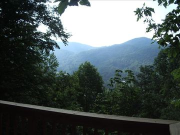 Foscoe cabin rental - 30ft back Deck Overlooking Surrounding Mts. and Valley. Great for Grilling out!!