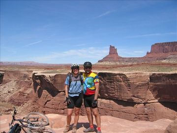 Your hosts, Dale and Jo-Anne, mountain biking on the White Rim