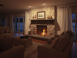 White Lake house photo - Wood burning fireplace overlooking the lake