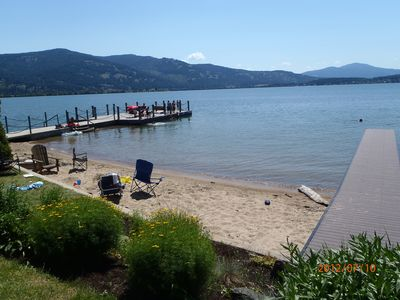 Our private sandy beach and dock! Nothing but beautiful sunshine all day long!!