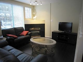 Vancouver townhome photo - Flat screen TV, gas fireplace, wood flooring throughout...
