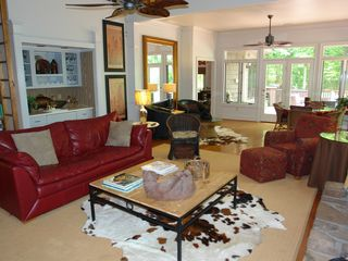 Big Canoe house photo - Main floor great room with wet bar, 18ft high library and lake views.
