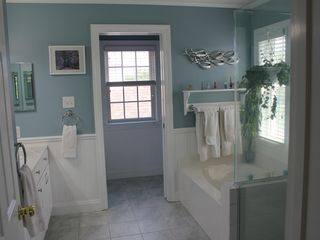 Montauk house photo - Master Bathroom With Shower, Tub, and Two Sinks