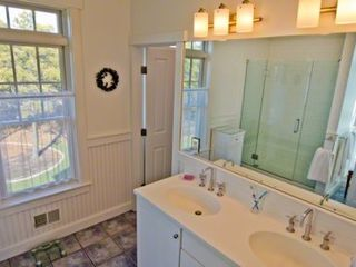 Katama house photo - Master Bath Features Double Vanity & Walk-in Glass Door Shower (Only)