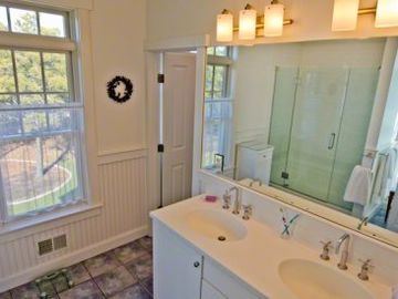 Master Bath Features Double Vanity & Walk-in Glass Door Shower (Only)