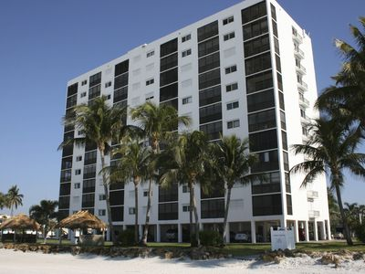 The Sunset Condominiums, as seen from the beach.