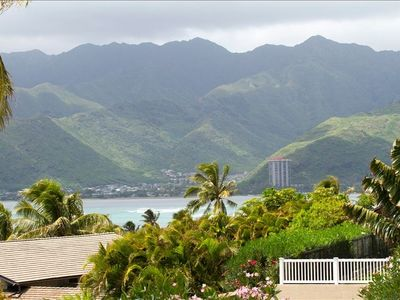 Beautiful view of Hawaii Kai and Koolau Mountains from the deck