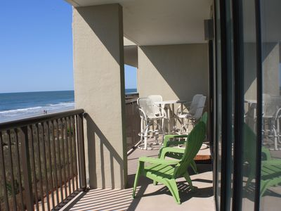 Large balcony with pub table / chairs & adirondack chairs for relaxing