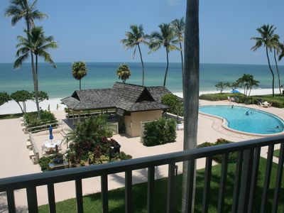 View from our condo balcony...just steps from the beach and pool!