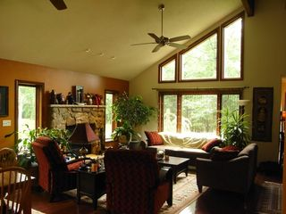 Bushkill chalet photo - living room and fireplace