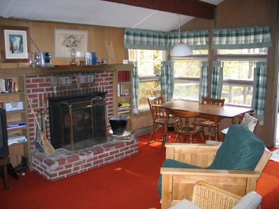 The Roger's Chalet - The main living dining area of the Roger's Chalet is folks as of a quaint ski or rustic mountain chalet really. The fireplace makes for some toasty warmth when ever your hearts desire.