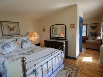 Interior of the Monarch Cottage, with full bath + kitchenette