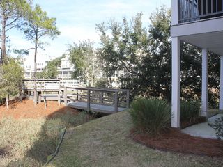 Folly Beach townhome photo - Backyard and seating area on marsh