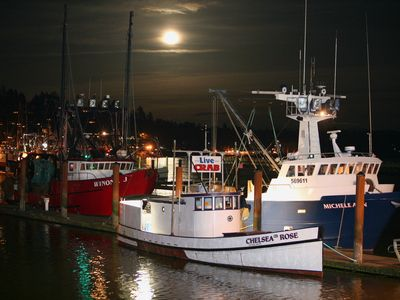 Night scene with moonrise in front of Sail Inn